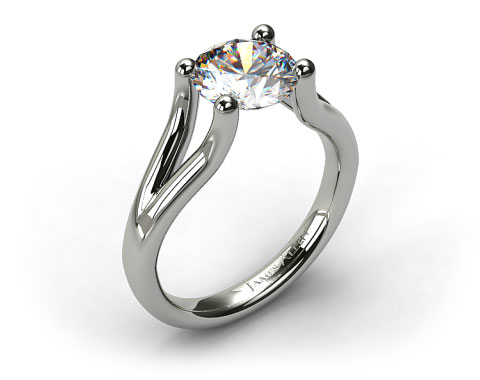 18k White Gold Ball-Tip Split Shank Tension Set Engagement Ring